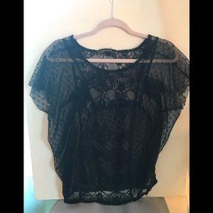 Love Stitch Black Lace Sheer Blouse.